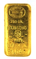 Schöne Edelmetaal 250 Grams Cast 24 Carat Gold Bullion Bar 999.9 Pure Gold