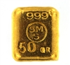 Schöne Edelmetaal 50 Grams Cast 24 Carat Gold Bullion Bar 999.9 Pure Gold