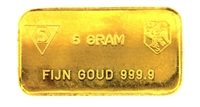Schöne Edelmetaal 5 Grams Minted 24 Carat Gold Bullion Bar 999.9 Pure Gold