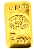 Swiss Bank Corporation & Engelhard 10 Tolas (116.6 Gr.) Cast 24 Carat Gold Bullion Bar 999.9 Pure Gold