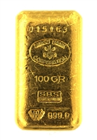Swiss Bank Corporation 100 Grams Cast 24 Carat Gold Bullion Bar 999.9 Pure Gold