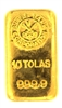 Swiss Bank Corporation 10 Tolas (116.6 Gr.) Cast 24 Carat Gold Bullion Bar 999.9 Pure Gold