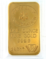 Swiss Bank Corporation 1 Ounce Minted 24 Carat Gold Bullion Bar 999.9 Pure Gold