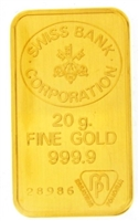 Swiss Bank Corporation 20 Grams Minted 24 Carat Gold Bullion Bar 999.9 Pure Gold