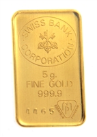 Swiss Bank Corporation 5 Grams Minted 24 Carat Gold Bullion Bar 999.9 Pure Gold