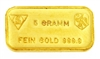 Schweizerischer Bankverein - Swiss Bank Corporation - 5 Grams Minted 24 Carat Gold Bullion Bar 999.9 Pure Gold