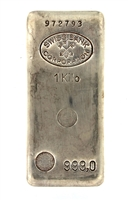 Swiss Bank Corporation - Compagnie des Métaux Précieux Paris 1 Kilogram Cast 24 Carat Silver Bullion Bar 999.0 Pure Silver