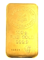 Swiss Bank Corporation 100 Grams 24 Carat Gold Bullion Bar 999.9 Pure Gold