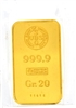 Union Bank of Switzerland 20 Grams Minted 24 Carat Gold Bullion Bar 999.9 Pure Gold