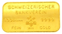Schweizerischer Bankverein & Johnson Matthey 100 Grams 24 Carat Gold Bullion Bar 999.9 Pure Gold