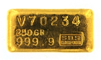 Société de Banque Suisse (S.B.S) 250 Grams Cast 24 Carat Gold Bullion Bar 999.9 Pure Gold
