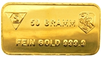 Schweizerischer Bankverein - Swiss Bank Corporation - 50 Grams 24 Carat Gold Bullion Bar 999.9 Pure Gold
