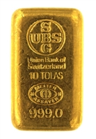 Union Bank of Switzerland 10 Tolas (116.6 Gr.) Cast 24 Carat Gold Bullion Bar 999.0 Pure Gold
