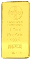 Union Bank of Switzerland (former UBS) 1 Tael (37.42 Gr.) Minted 24 Carat Gold Bullion Bar 999.9 Pure Gold in Assay Certificate Holder