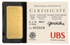 UBS 1 Tael (37.50 Gr.) Minted 24 Carat Gold Bullion Bar 999.9 Pure Gold in Assay Certificate Holder