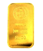 Union Bank of Switzerland 50 Grams Minted 24 Carat Gold Bullion Bar 999.9 Pure Gold