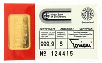 Union Bank of Switzerland 5 Grams Minted 24 Carat Gold Bullion Bar 999.9 Pure Gold in Assay Certificate Holder