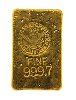 1943 US Assay Office New York 12.13 Ounces Cast 24 Carat Gold Bullion Bar 999.7 Pure Gold