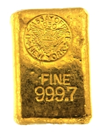 1950 US Assay Office New York 27.43 Ounces Cast 24 Carat Gold Bullion Bar 999.7 Pure Gold