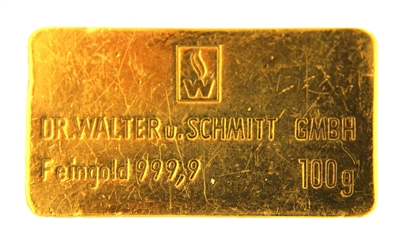 Dr. Walter u. Schmitt GmBh 100 Grams 24 Carat Gold Bullion Bar 999.9 Pure Gold
