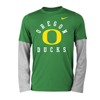 Oregon Ducks Nike Youth Dri-FIT Long-Sleeve Tee Apple Green