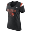 Oregon State Beavers Nike Women's V-Neck Fan Top - Black