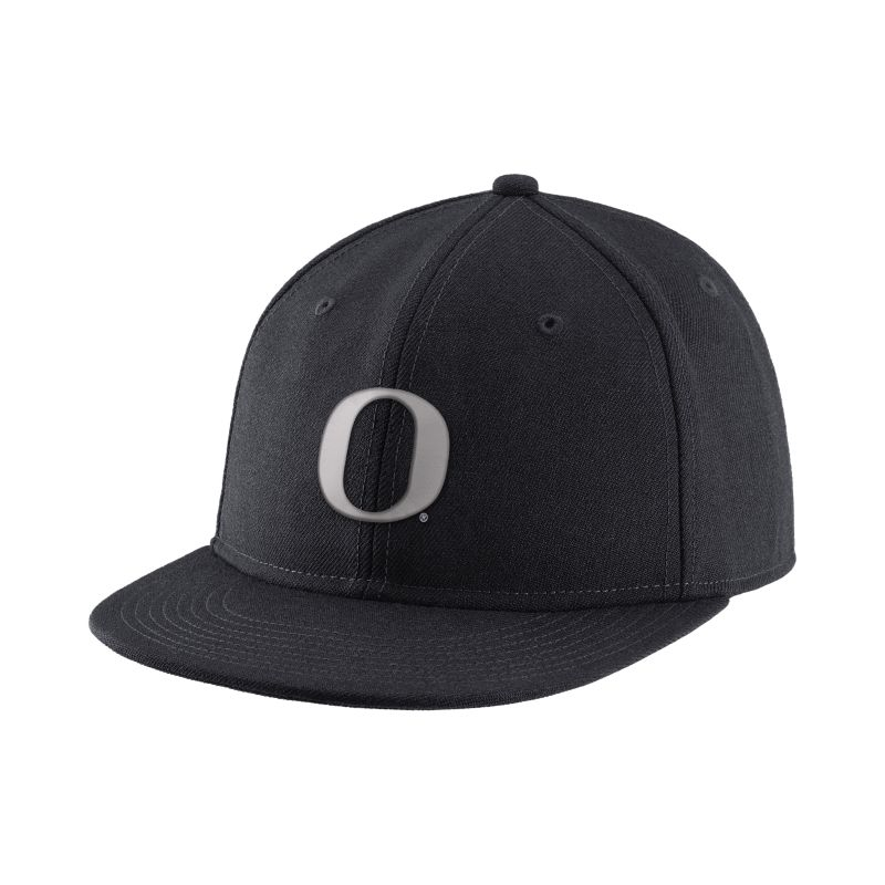 Oregon Ducks Nike Authentic Wool Fitted Hat - Black Silver e6c21fe244c