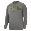 Oregon Ducks Nike Fleece Club Crew  Grey