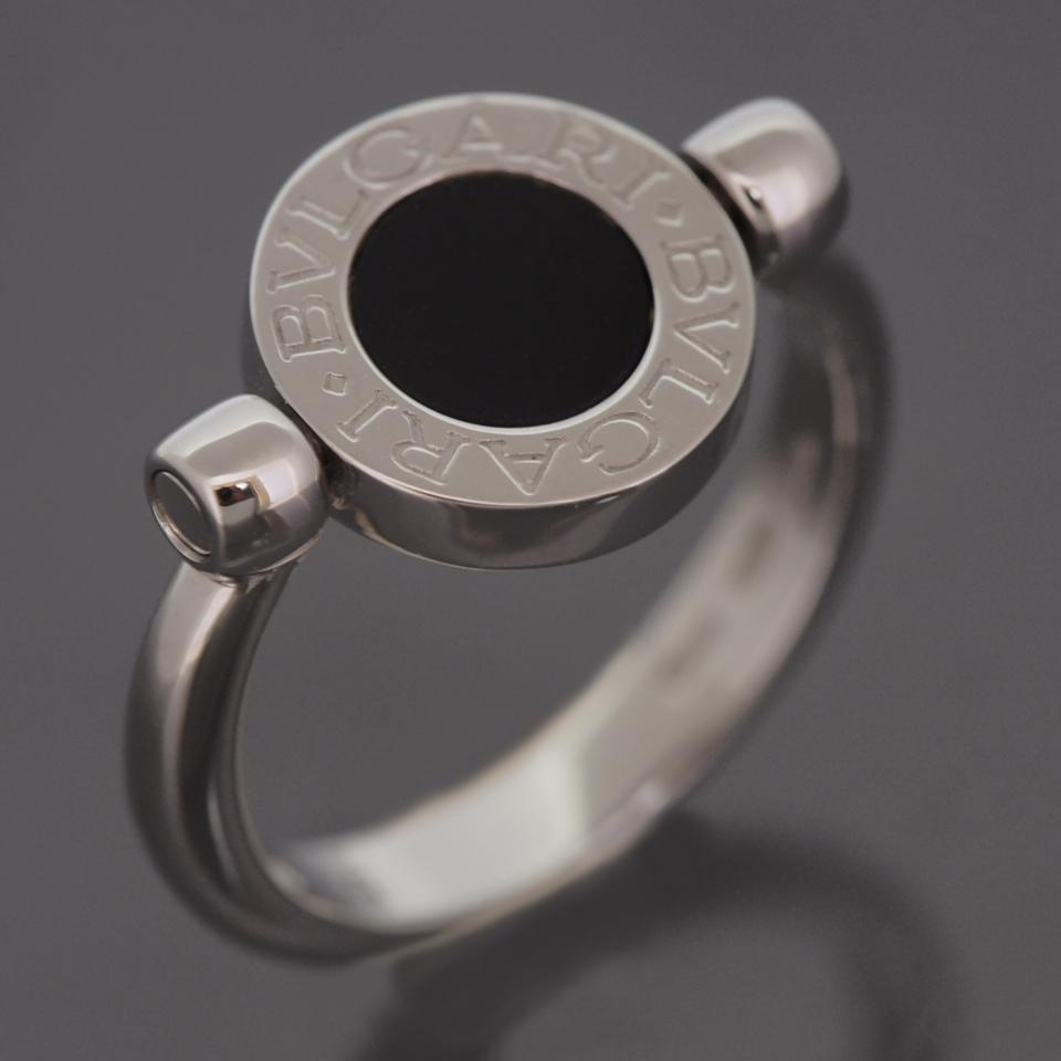 bvlgari 18k white gold bb pave diamonds and onyx flip ring with box 51 us 55