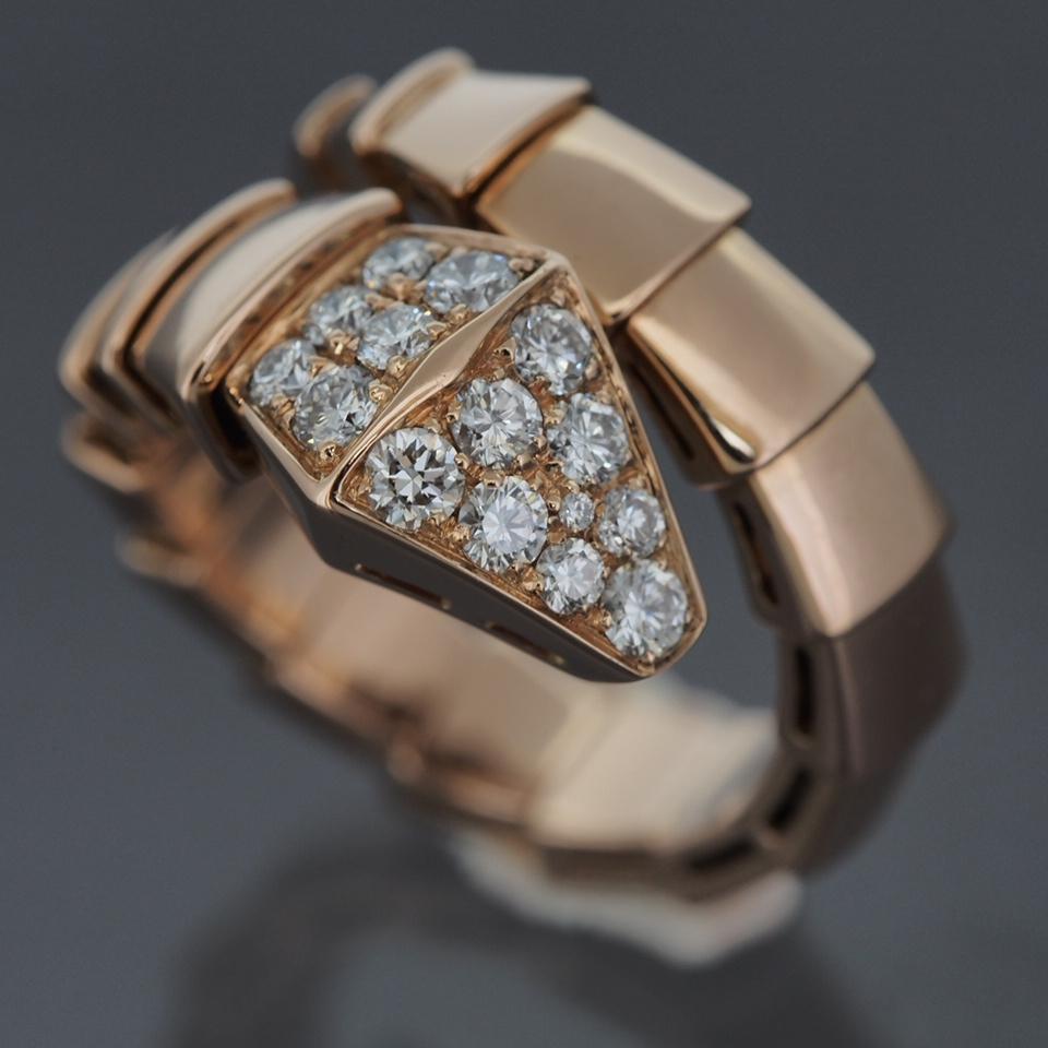 Bvlgari 18k Rose Gold Serpenti Snake Ring With Pave