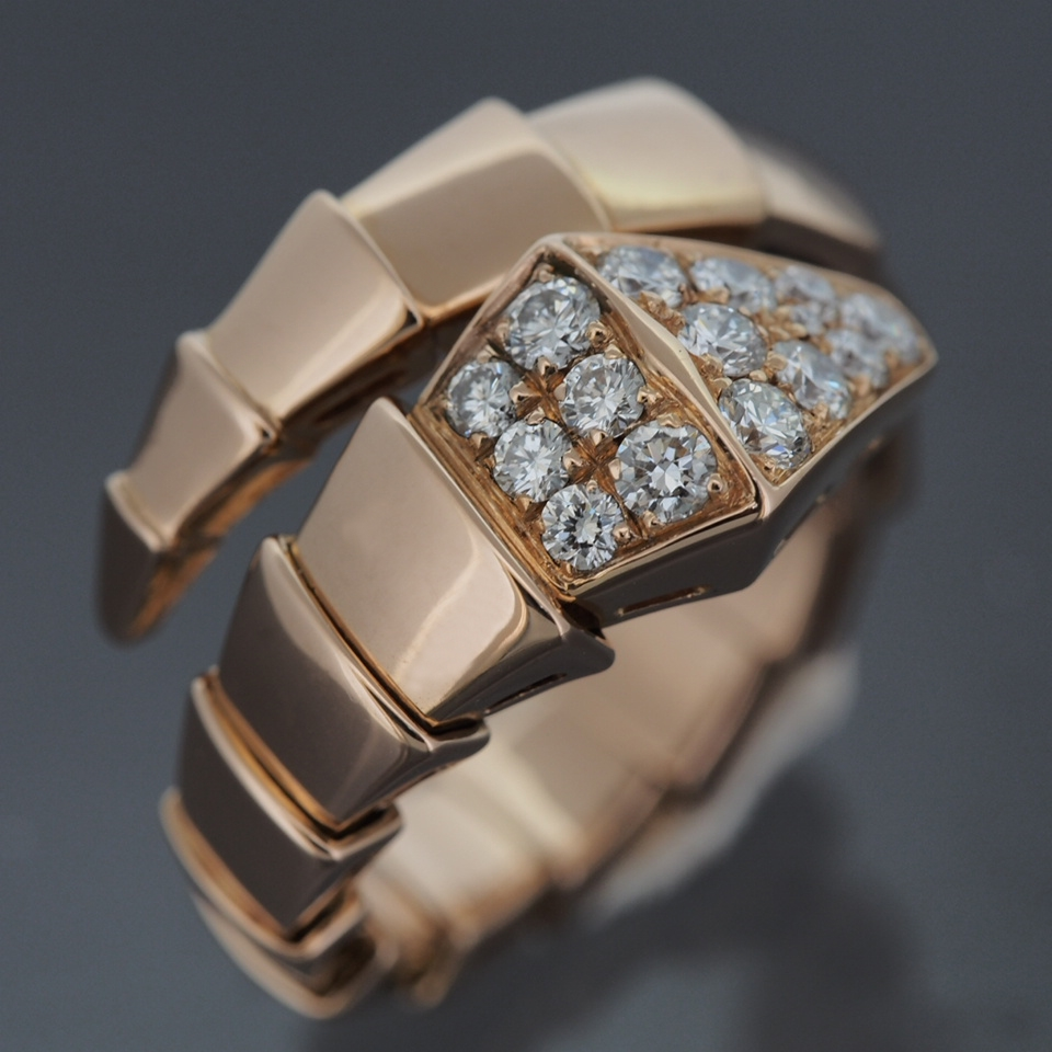bvlgari 18k rose gold serpenti snake ring with pave diamonds with certificate