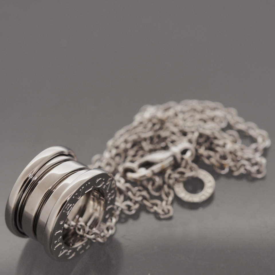 Bvlgari 18k white gold b zero 1 pendant with chain necklace w box mozeypictures Choice Image