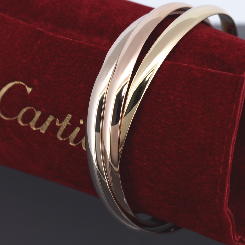 35974ec9272b7 CARTIER 18K TRI GOLD TRINITY HEAVY 87 GRAMS BANGLE BRACELET WITH SERVICE  RECEIPT
