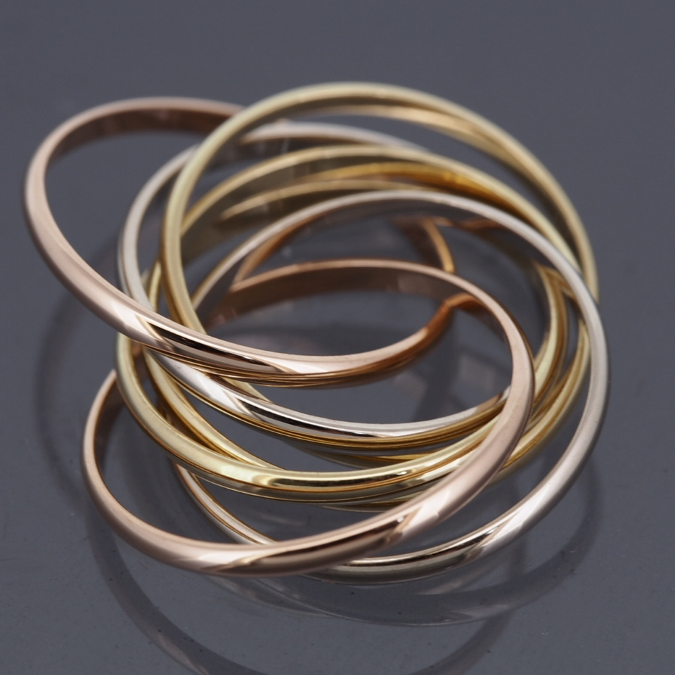 Cartier 18k Tri Color Gold 7 Bands Trinity Rolling Ring 50