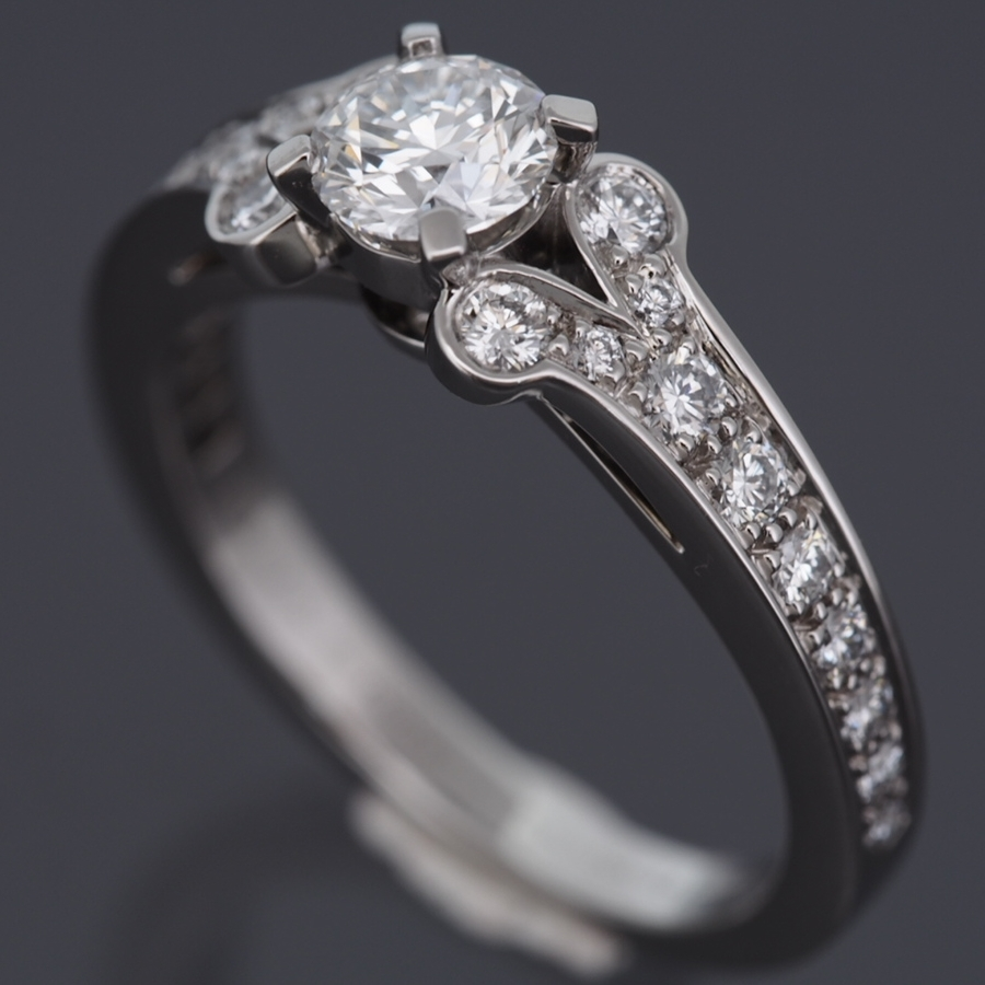 Cartier Platinum: CARTIER PLATINUM 950 BALLERINE SOLITAIRE 0.57 CT DIAMOND