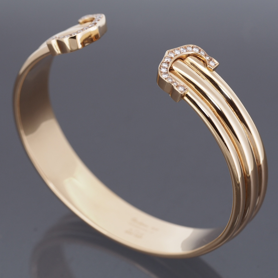 Cartier 18k Rose Gold 150th Anniversary 2c Bangle Bracelet