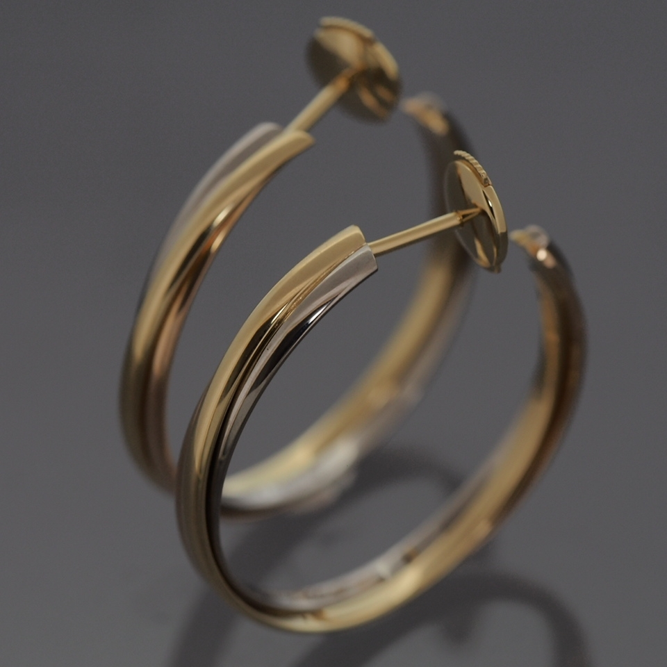 Cartier 18k Tri Color Gold Trinity Hoop Post Earrings With Certificate Box