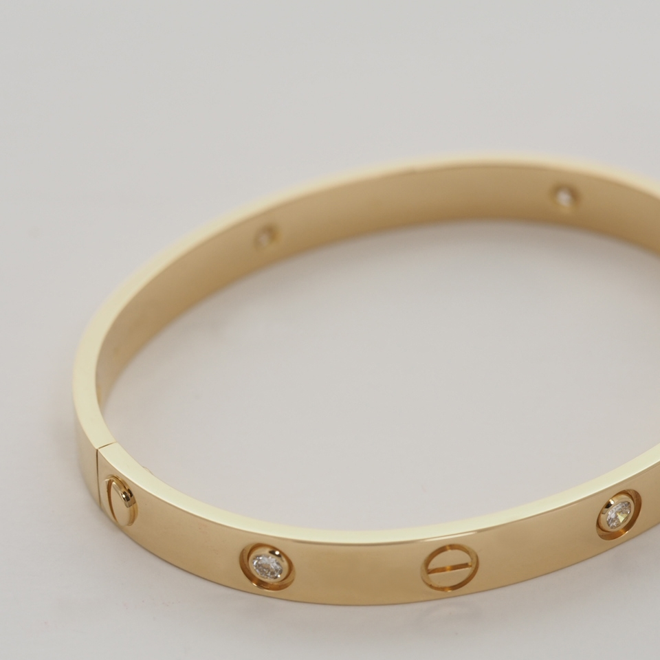 Cartier 18k Yellow Gold 6 Diamonds Love Bracelet 17 With Service Receipt And Box