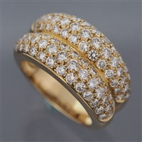 Cartier Double Mimi Pave Diamonds Ring Yellow Gold