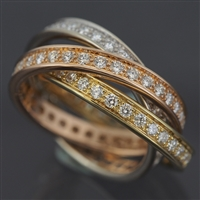 Cartier Trinity Ring With 1.5ct Diamonds 3 Gold