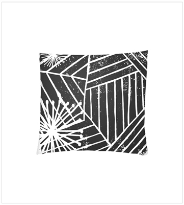 Black Retro Lino Pillow