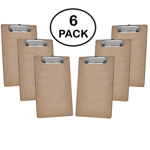 "Acrimet Clipboard Letter Size A4 (13"" x 9 1/16"") Low Profile Clip (Hardboard) (6 Pack)"
