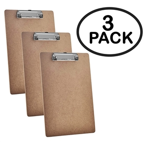 "Acrimet Clipboard Letter Size A4 (13"" x 9 1/16"") Low Profile Clip (Hardboard) (3 Pack)"