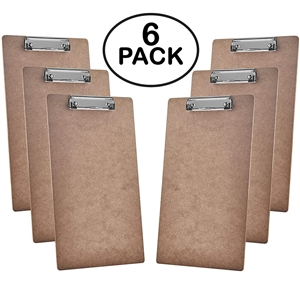 "Acrimet Clipboard Legal Size (15 3/8"" x 9 1/16"") Low Profile Clip (Hardboard) (6 Pack)"