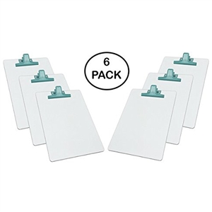 "Acrimet White Clipboard Letter Size A4 (13"" X 9 1/16"") Premium Metal Clip (Hardboard) (Green Clip) (6 Pack)"