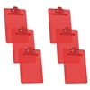 "Acrimet Clipboard Memo Size (9 1/4"" x 6 1/3"") Premium Metal Clip (Plastic) (Clear Red Color) (6 - Pack) Code 120.3"