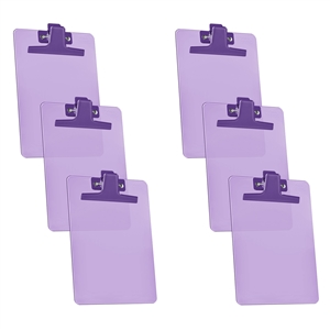 "Acrimet Clipboard Memo Size A5 (9 1/8"" x 6 3/8"") Premium Metal Clip (Plastic) (Purple Color) (6 Pack)"