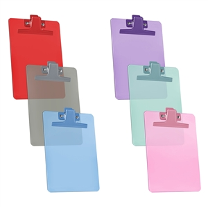 "Acrimet Clipboard Memo Size A5 (9 1/4"" x 6 1/3"") Premium Metal Clip (Plastic) (Assorted Color) (6 Pack)"
