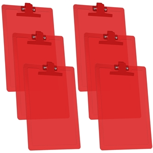 Acrimet Clipboard Letter Size Premium Metal Clip (Plastic) (Clear Red Color) (6 - Pack)