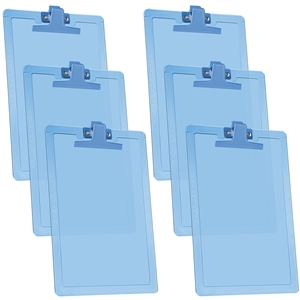 "Acrimet Clipboard Letter Size A4 (13 3/8"" x 9 7/16"") Premium Metal Clip (Plastic) (Clear Blue Color) (6 Pack)"